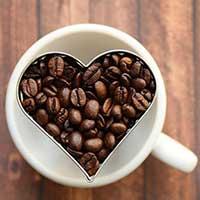 コーヒー豆で作ったハートマーク